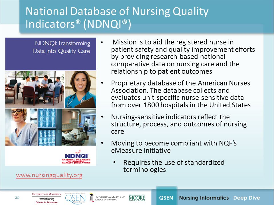 23 National Database of Nursing Quality Indicators® (NDNQI®) Mission is to aid the registered nurse in patient safety and quality improvement efforts by providing research-based national comparative data on nursing care and the relationship to patient outcomes Proprietary database of the American Nurses Association.