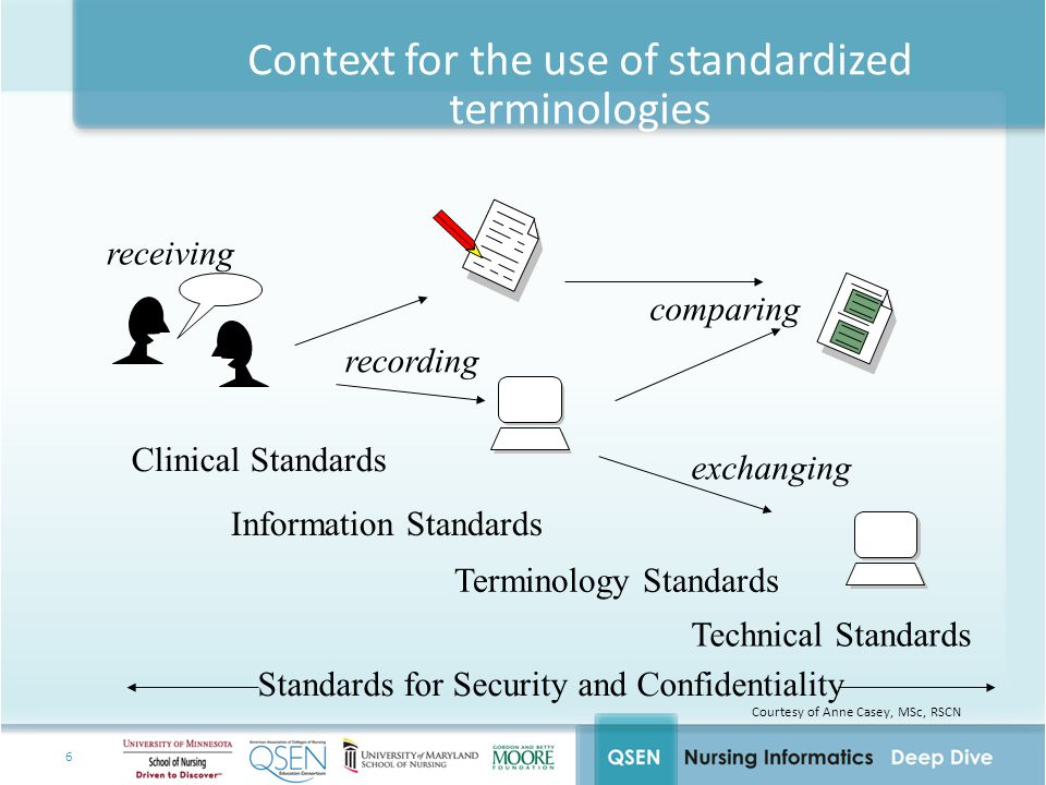 6 Context for the use of standardized terminologies Clinical Standards Technical Standards Terminology Standards Standards for Security and Confidentiality Information Standards recording exchanging comparing receiving Courtesy of Anne Casey, MSc, RSCN