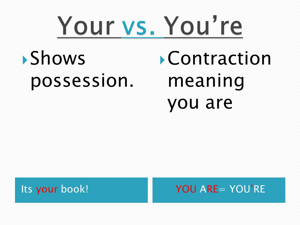 Its your book!YOU ARE= YOU'RE  Shows possession.  Contraction meaning you are