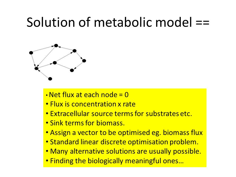Solution of metabolic model == Net flux at each node = 0 Flux is concentration x rate Extracellular source terms for substrates etc.