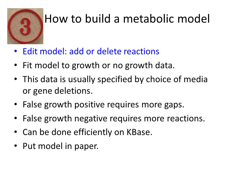 How to build a metabolic model Edit model: add or delete reactions Fit model to growth or no growth data.