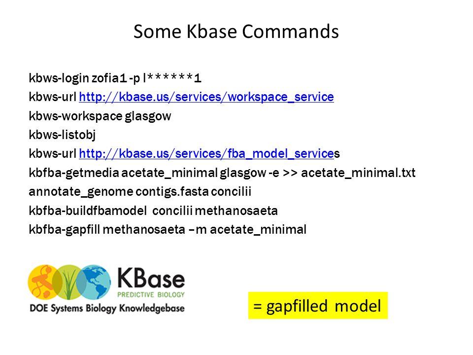 Some Kbase Commands kbws-login zofia1 -p l******1 kbws-url http://kbase.us/services/workspace_servicehttp://kbase.us/services/workspace_service kbws-workspace glasgow kbws-listobj kbws-url http://kbase.us/services/fba_model_serviceshttp://kbase.us/services/fba_model_service kbfba-getmedia acetate_minimal glasgow -e >> acetate_minimal.txt annotate_genome contigs.fasta concilii kbfba-buildfbamodel concilii methanosaeta kbfba-gapfill methanosaeta –m acetate_minimal = gapfilled model