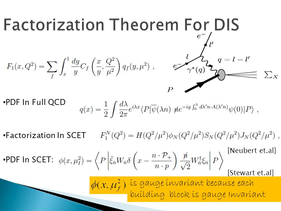 Factorization Theorem For DIS PDF In Full QCD PDF In SCET: is gauge invariant because each building block is gauge Invariant Factorization In SCET [Neubert et.al] [Stewart et.al]