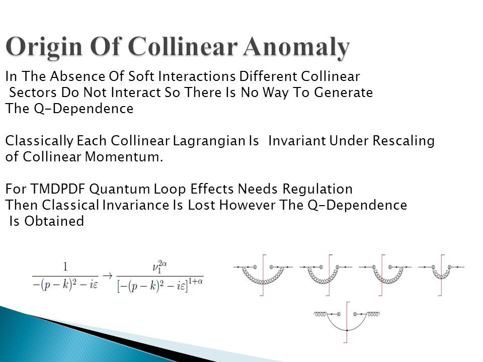 Origin Of Collinear Anomaly In The Absence Of Soft Interactions Different Collinear Sectors Do Not Interact So There Is No Way To Generate The Q-Dependence Classically Each Collinear Lagrangian Is Invariant Under Rescaling of Collinear Momentum.