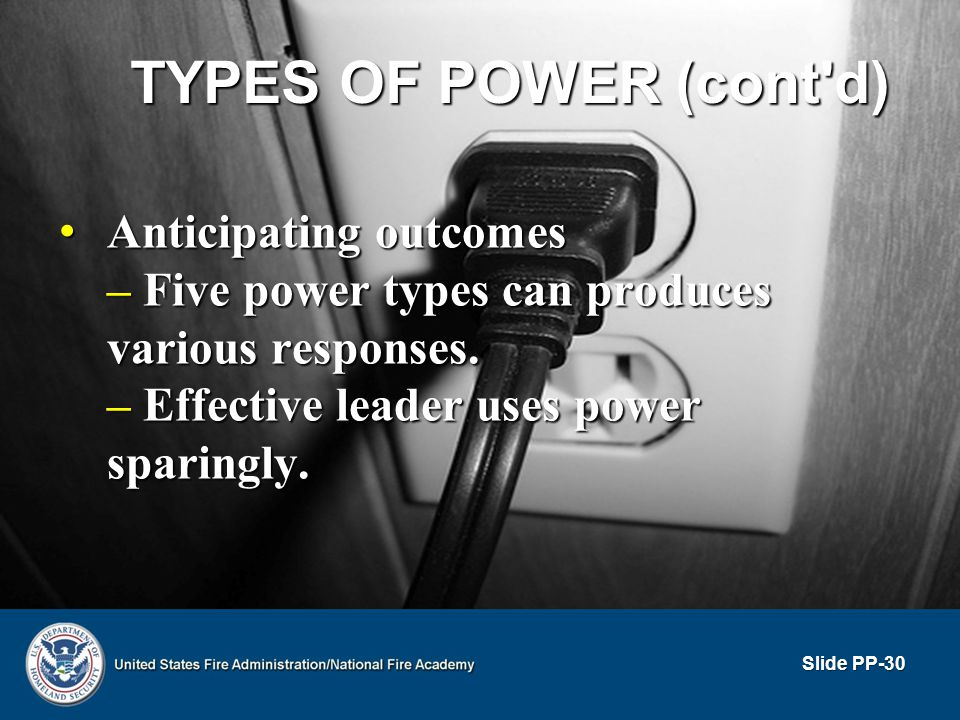TYPES OF POWER (cont'd) Anticipating outcomes Anticipating outcomes – Five power types can produces various responses. – Effective leader uses power s