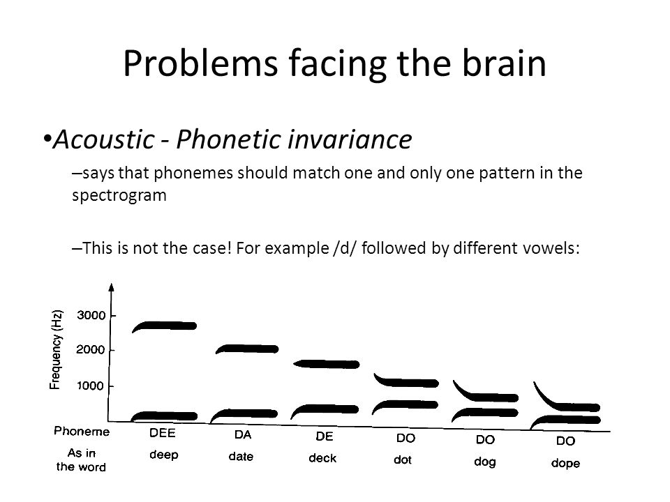 Problems facing the brain Acoustic - Phonetic invariance – says that phonemes should match one and only one pattern in the spectrogram – This is not the case.