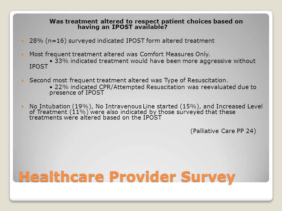 Healthcare Provider Survey Was treatment altered to respect patient choices based on having an IPOST available? 28% (n=16) surveyed indicated IPOST fo