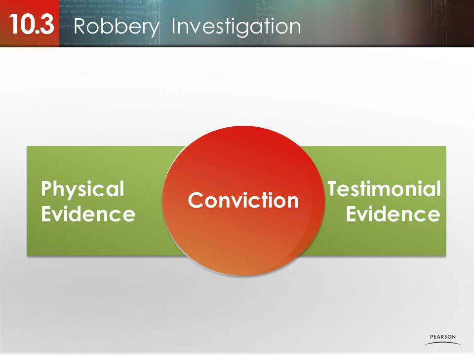 Physical Evidence Testimonial Evidence Robbery Investigation 10.3 Conviction