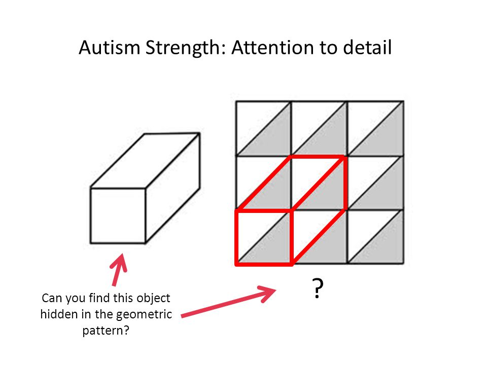 Autism Strength: Attention to detail Can you find this object hidden in the geometric pattern