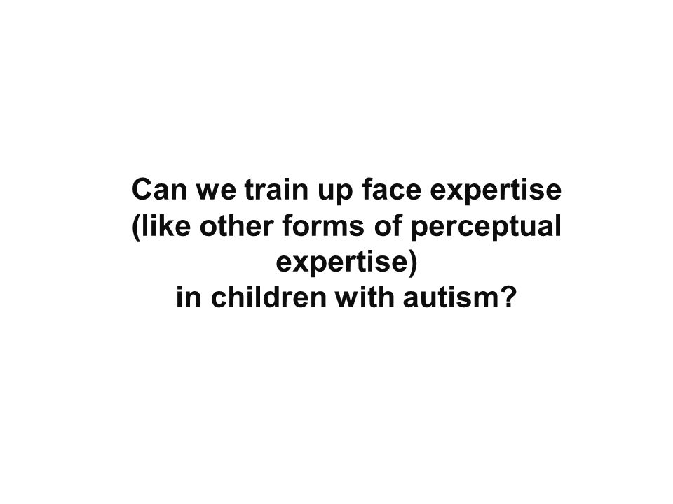 Can we train up face expertise (like other forms of perceptual expertise) in children with autism
