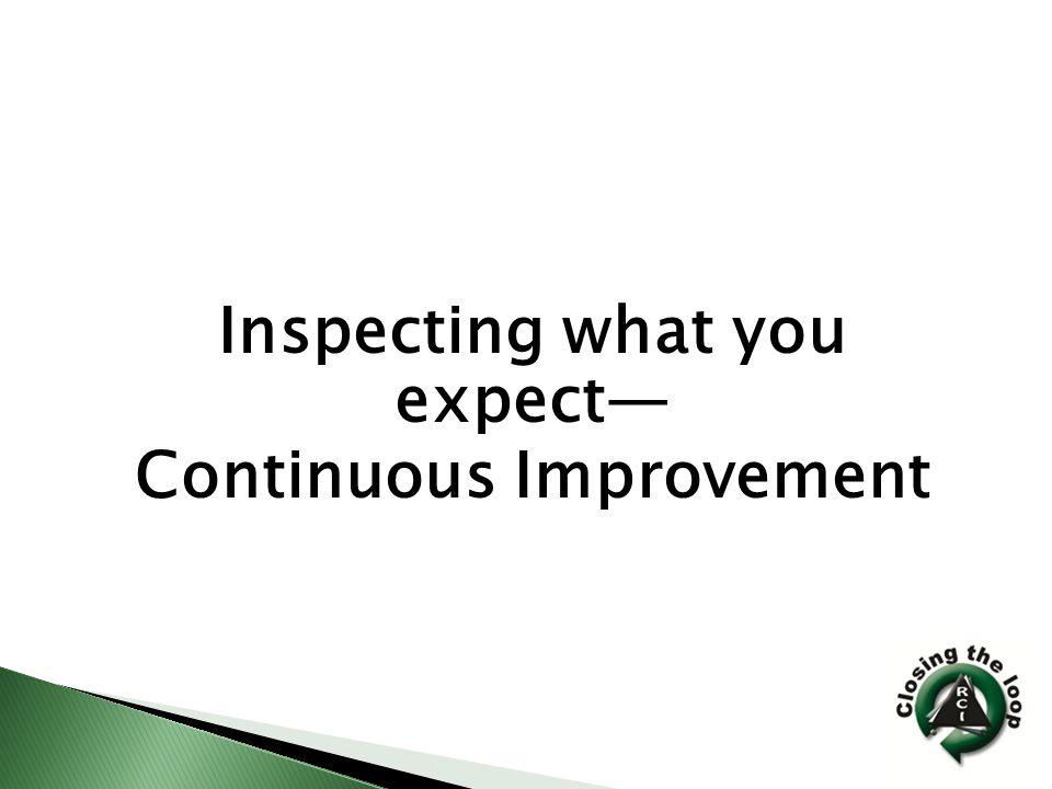 Inspecting what you expect— Continuous Improvement