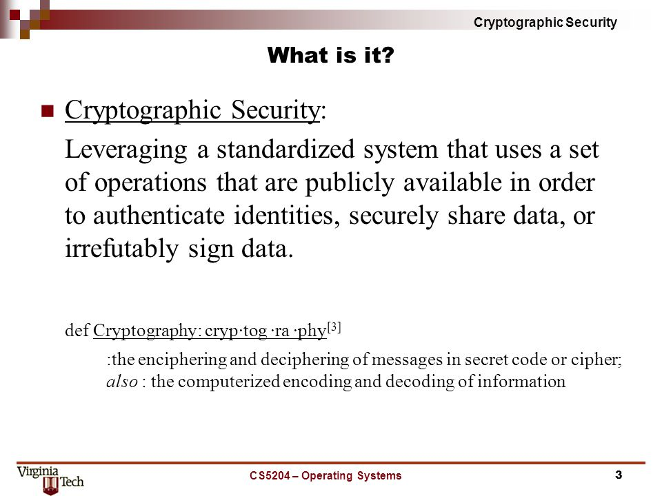 Cryptographic Security What is it.