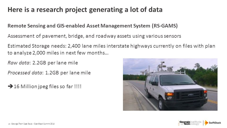 14 Here is a research project generating a lot of data Remote Sensing and GIS-enabled Asset Management System (RS-GAMS) Assessment of pavement, bridge