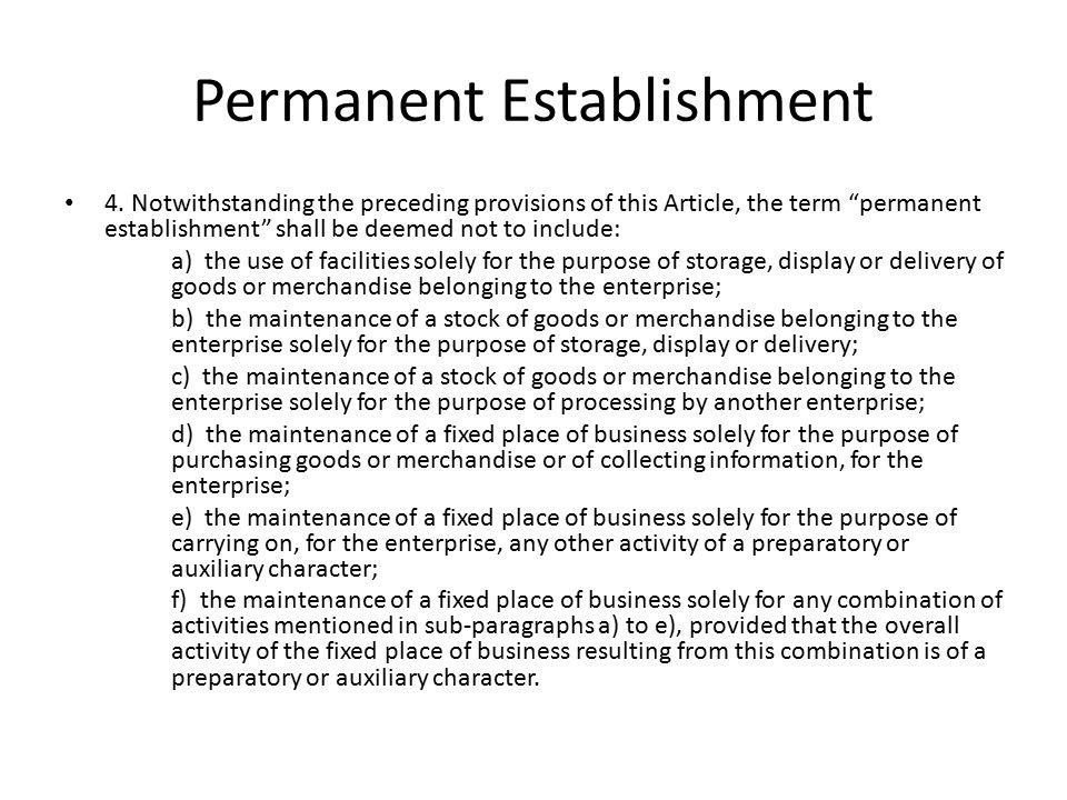 Permanent Establishment 4.