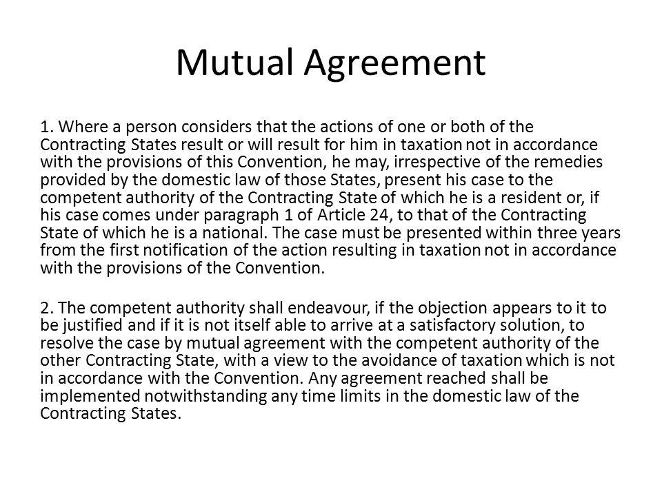 Mutual Agreement 1.