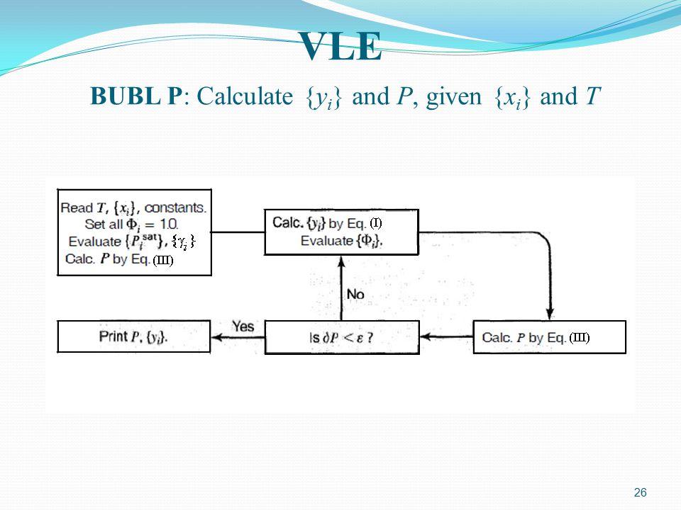 26 VLE BUBL P: Calculate {y i } and P, given {x i } and T