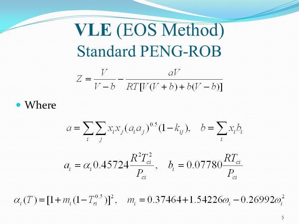 VLE (EOS Method) Standard PENG-ROB Where 5