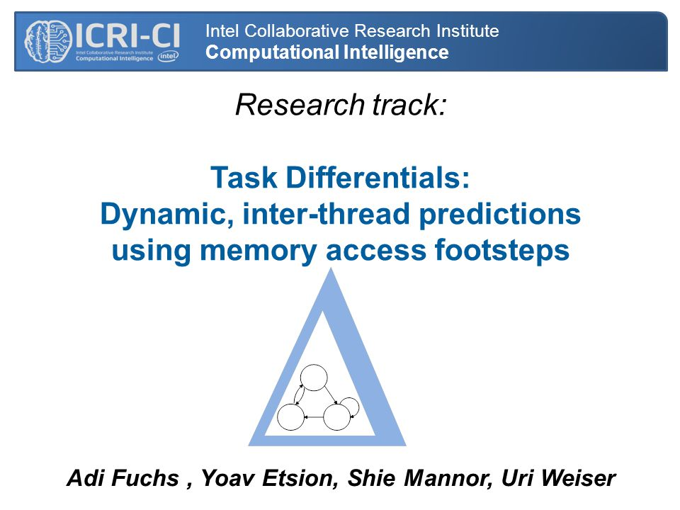 Research track: Task Differentials: Dynamic, inter-thread predictions using memory access footsteps Intel Collaborative Research Institute Computational Intelligence Adi Fuchs, Yoav Etsion, Shie Mannor, Uri Weiser