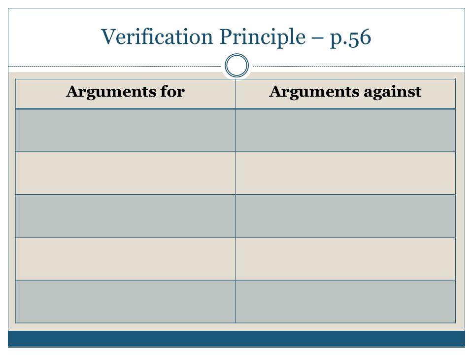 Verification Principle – p.56 Arguments forArguments against