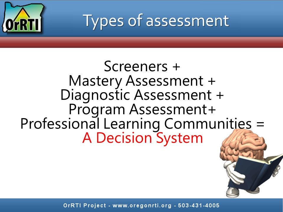 Types of assessment Screeners + Mastery Assessment + Diagnostic Assessment + Program Assessment+ Professional Learning Communities = A Data System