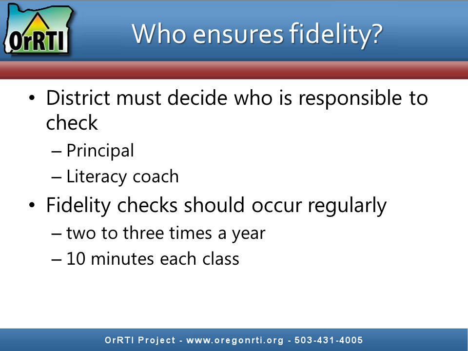 Non- curriculum specific fidelity checklists