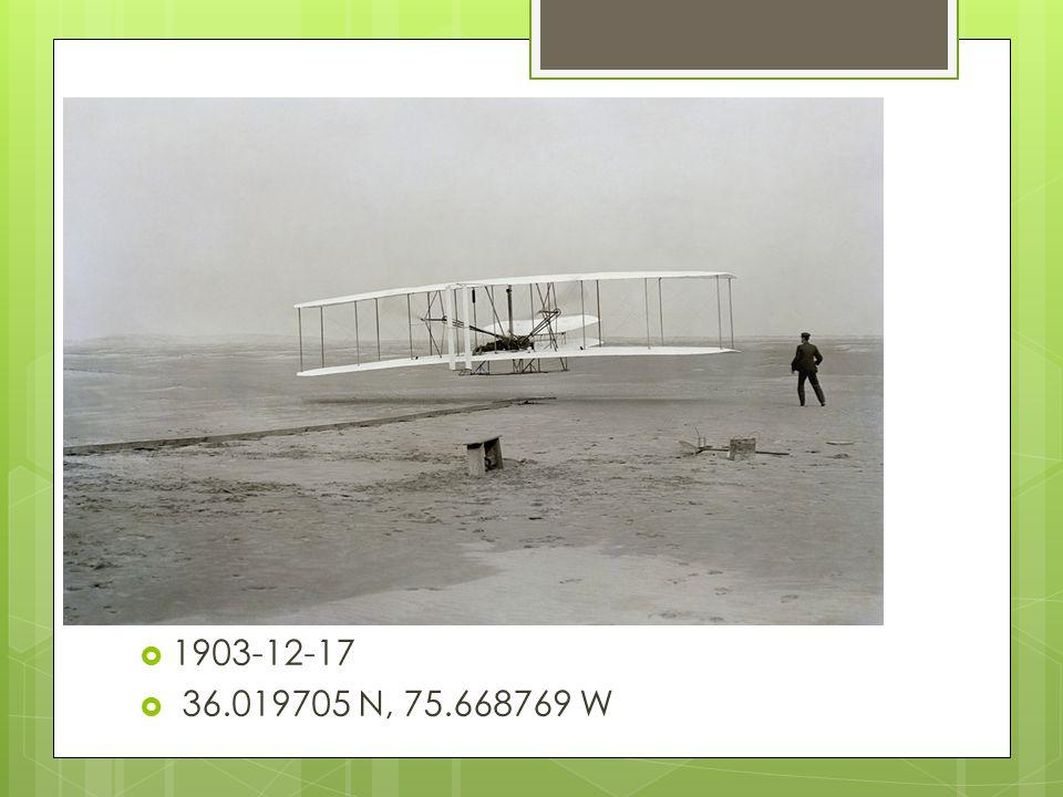  1903-12-17  36.019705 N, 75.668769 W
