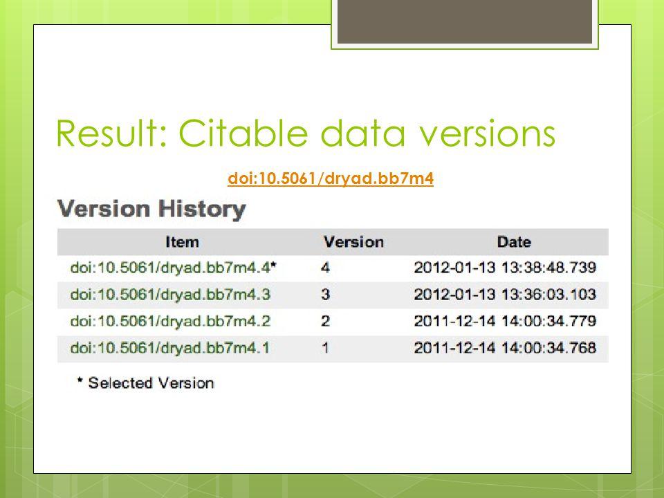 Result: Citable data versions doi:10.5061/dryad.bb7m4