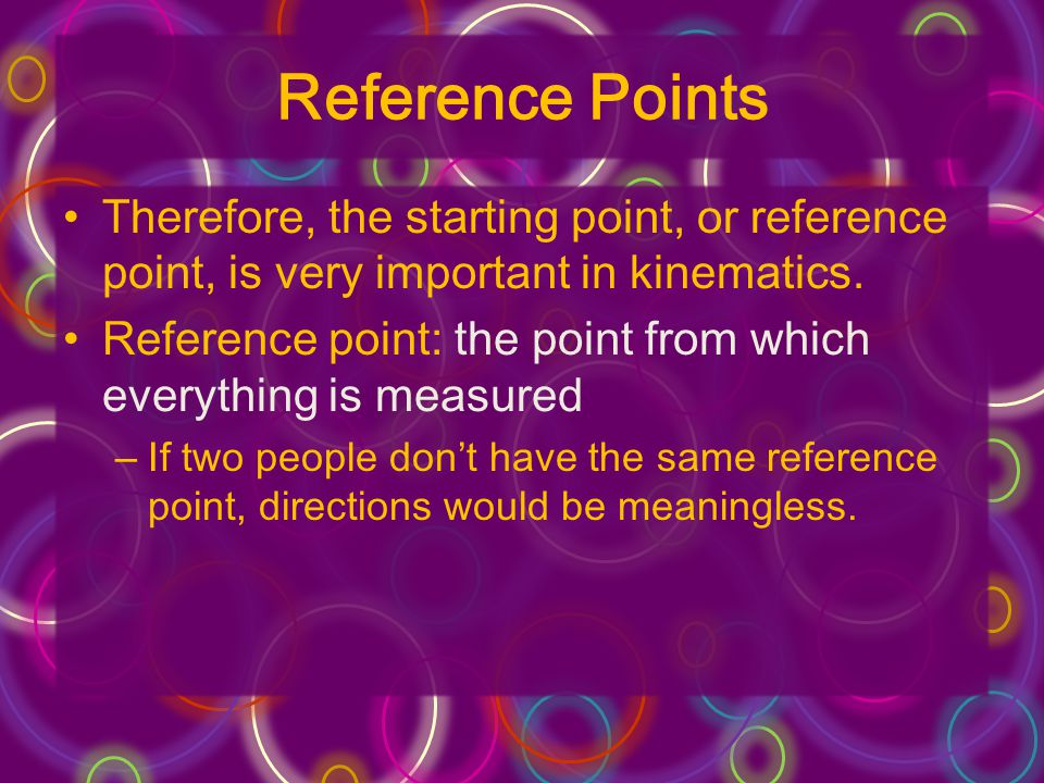 Reference Points Therefore, the starting point, or reference point, is very important in kinematics.