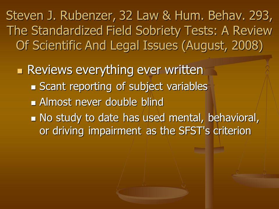 Steven J. Rubenzer, 32 Law & Hum. Behav.