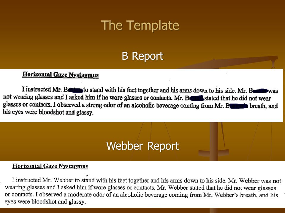 The Template B Report Webber Report