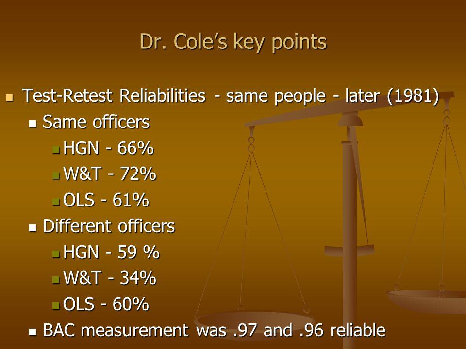Dr. Cole's key points Test-Retest Reliabilities - same people - later (1981) Test-Retest Reliabilities - same people - later (1981) Same officers Same