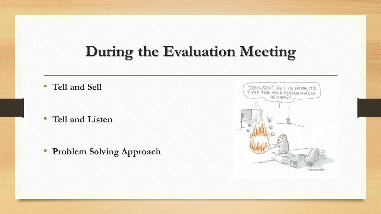 During the Evaluation Meeting Tell and Sell Tell and Listen Problem Solving Approach
