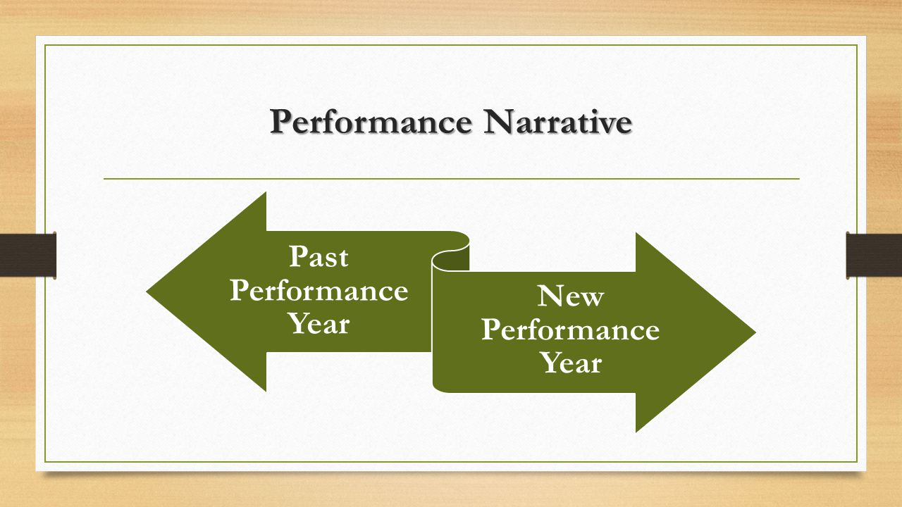 Performance Narrative Past Performance Year New Performance Year