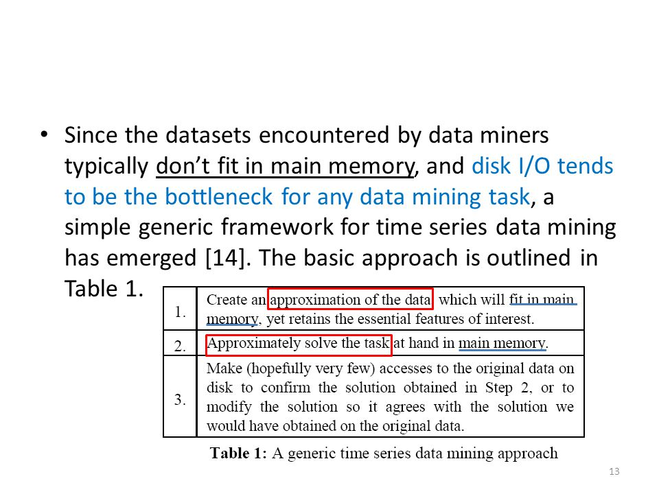 Since the datasets encountered by data miners typically don't fit in main memory, and disk I/O tends to be the bottleneck for any data mining task, a