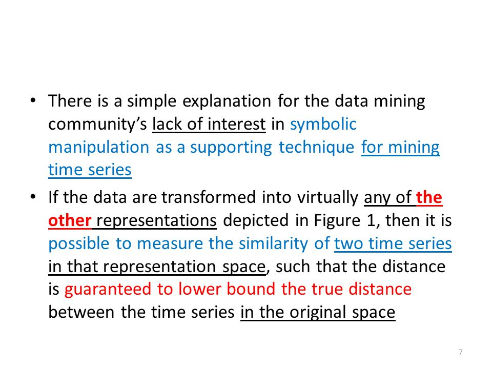 There is a simple explanation for the data mining community's lack of interest in symbolic manipulation as a supporting technique for mining time seri