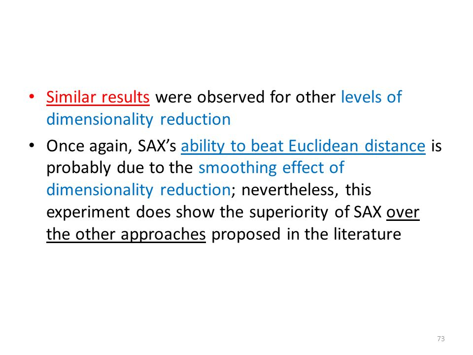 Similar results were observed for other levels of dimensionality reduction Once again, SAX's ability to beat Euclidean distance is probably due to the