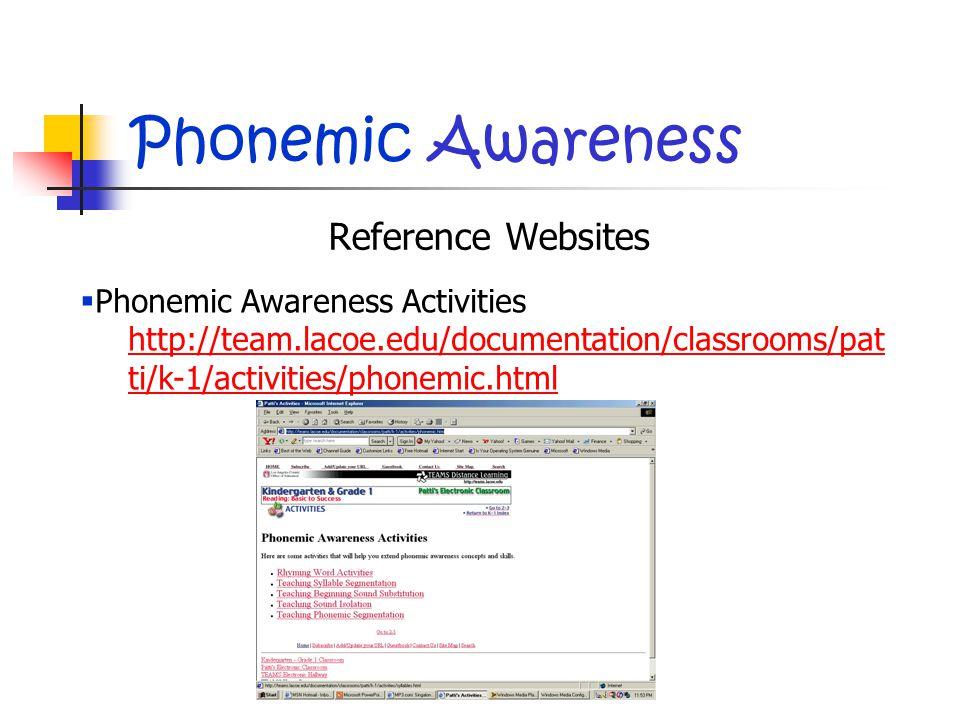 Phonemic Awareness Reference Websites  Phonemic Awareness Activities http://team.lacoe.edu/documentation/classrooms/pat ti/k-1/activities/phonemic.html