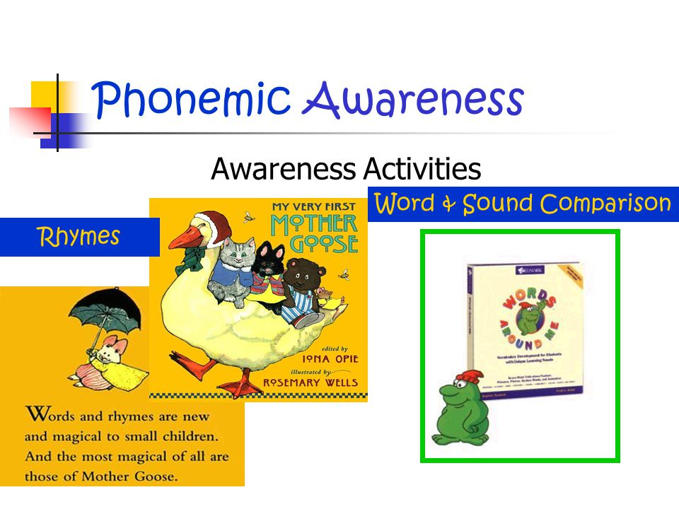 Phonemic Awareness Awareness Activities Rhymes Word & Sound Comparison