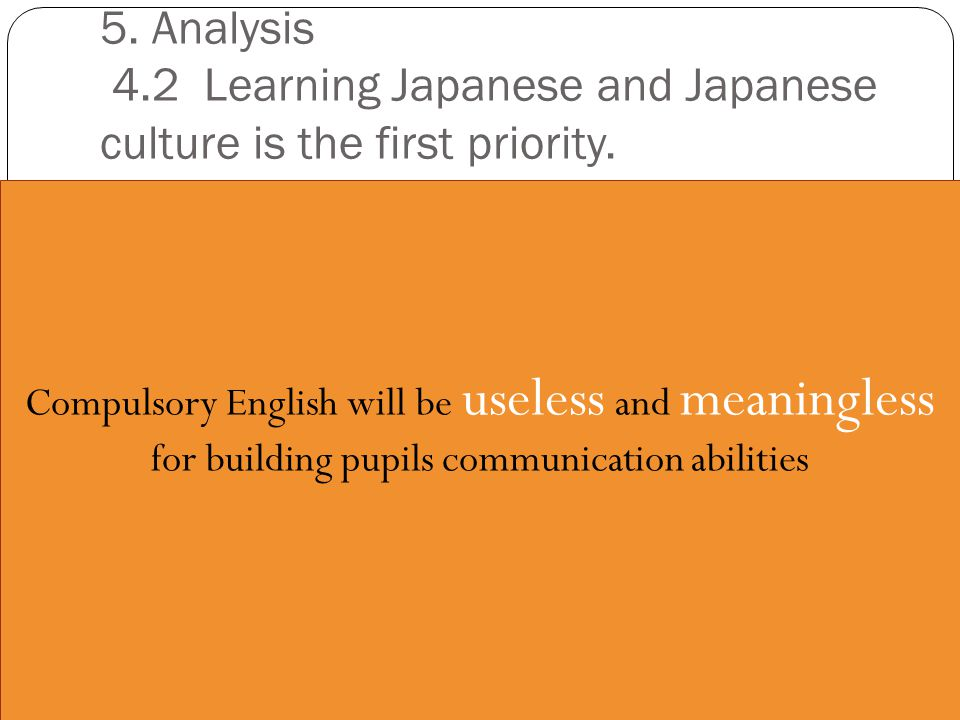 5. Analysis 4.2 Learning Japanese and Japanese culture is the first priority.