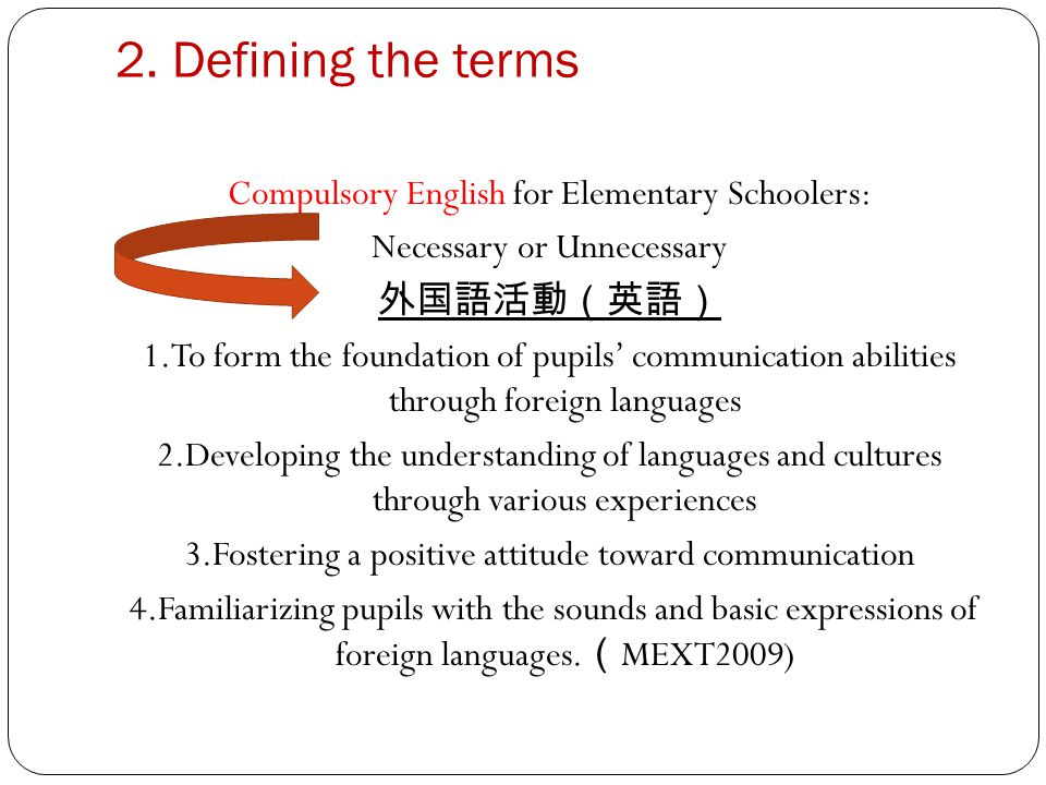 3.2 The faster you learn a language the more advantage (MEXT2004) Compulsory English will be beneficial and useful for building pupils communication abilities