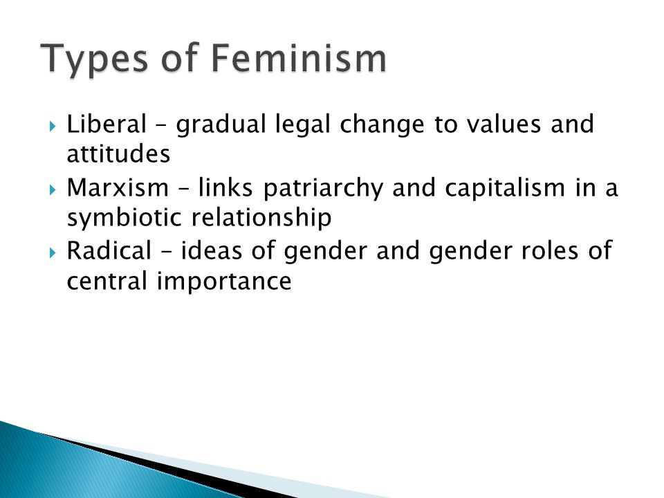  Liberal – gradual legal change to values and attitudes  Marxism – links patriarchy and capitalism in a symbiotic relationship  Radical – ideas of gender and gender roles of central importance