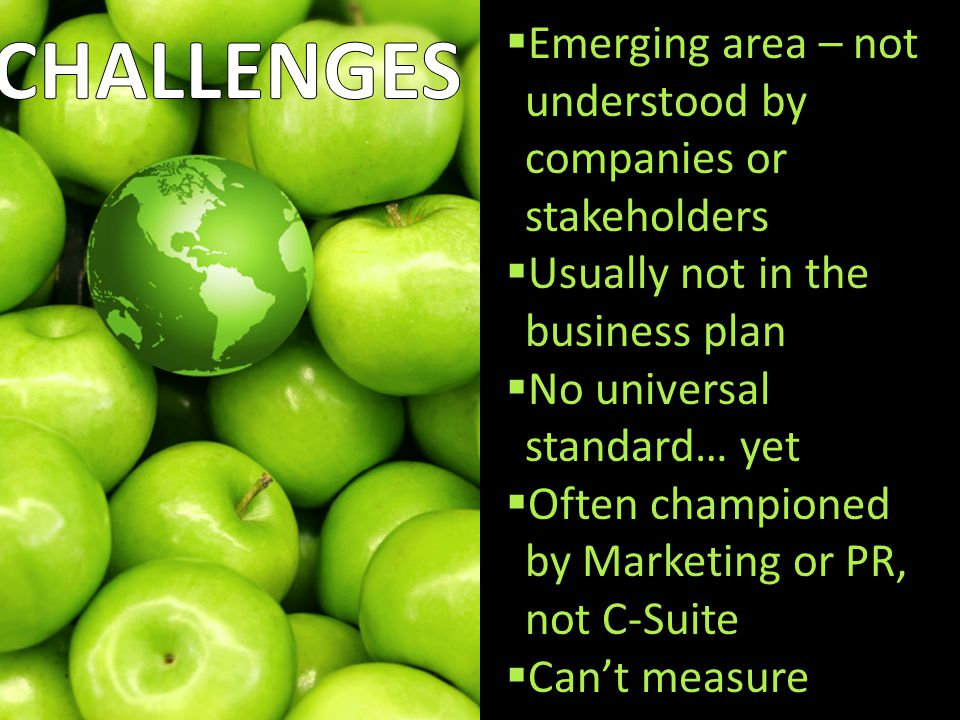 Pros and Cons  Emerging area – not understood by companies or stakeholders  Usually not in the business plan  No universal standard… yet  Often championed by Marketing or PR, not C-Suite  Can't measure