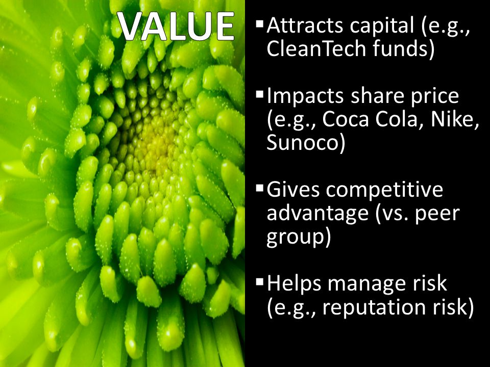 Pros and Cons  Attracts capital (e.g., CleanTech funds)  Impacts share price (e.g., Coca Cola, Nike, Sunoco)  Gives competitive advantage (vs.