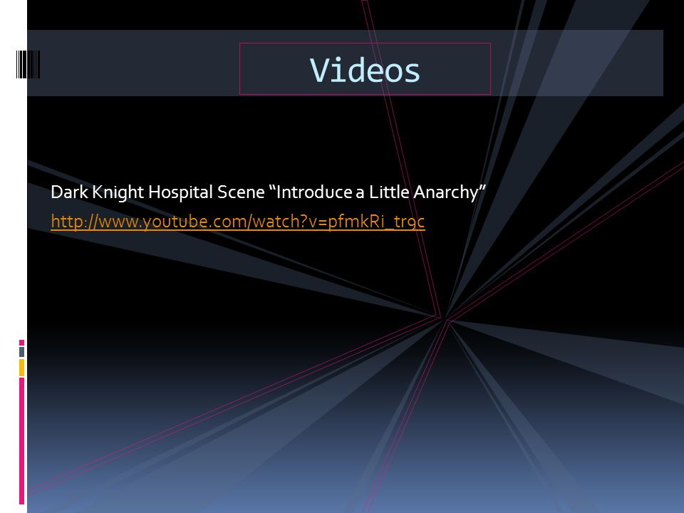 Videos Dark Knight Hospital Scene Introduce a Little Anarchy http://www.youtube.com/watch v=pfmkRi_tr9c