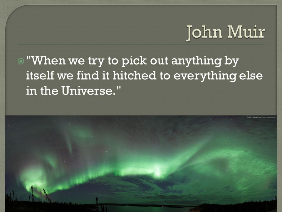  When we try to pick out anything by itself we find it hitched to everything else in the Universe.