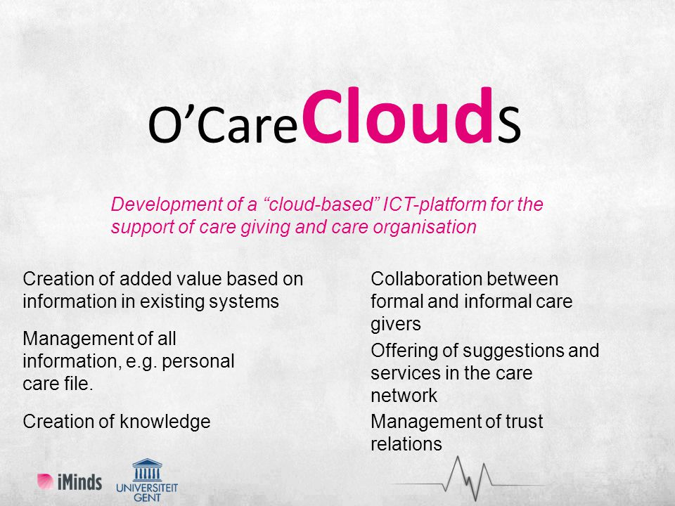 O'Care Cloud S Development of a cloud-based ICT-platform for the support of care giving and care organisation Collaboration between formal and informal care givers Creation of added value based on information in existing systems Management of all information, e.g.