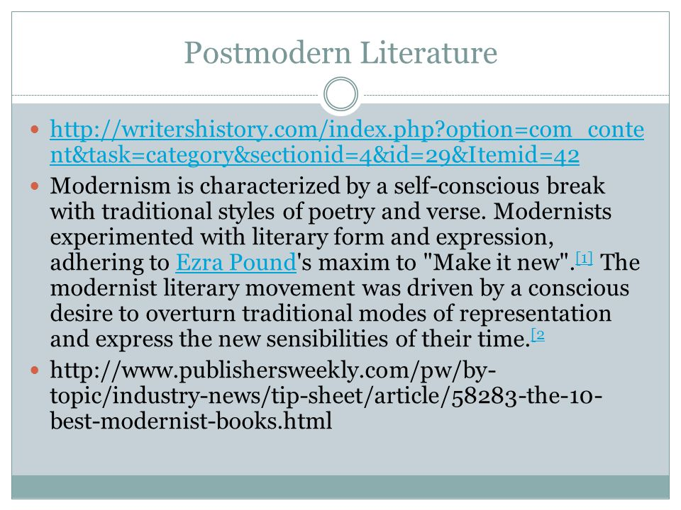 Postmodern Literature http://writershistory.com/index.php?option=com_conte nt&task=category&sectionid=4&id=29&Itemid=42 http://writershistory.com/inde