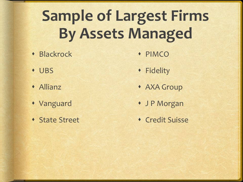 Sample of Largest Firms By Assets Managed  Blackrock  UBS  Allianz  Vanguard  State Street  PIMCO  Fidelity  AXA Group  J P Morgan  Credit S