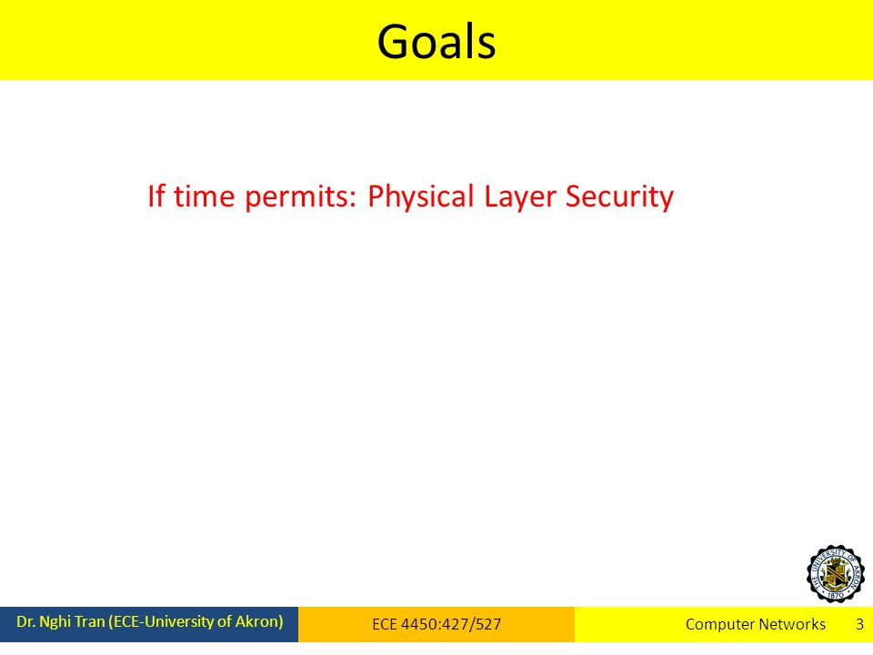 Goals Dr. Nghi Tran (ECE-University of Akron) ECE 4450:427/527Computer Networks 3 If time permits: Physical Layer Security