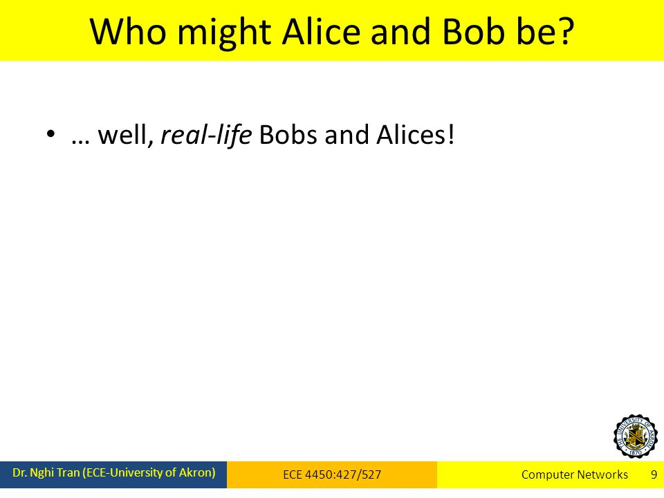 Who might Alice and Bob be. Dr.
